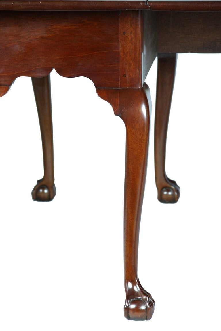 Mahogany Chippendale, Six Leg Claw and Ball Drop-Leaf Dining Table For Sale 1