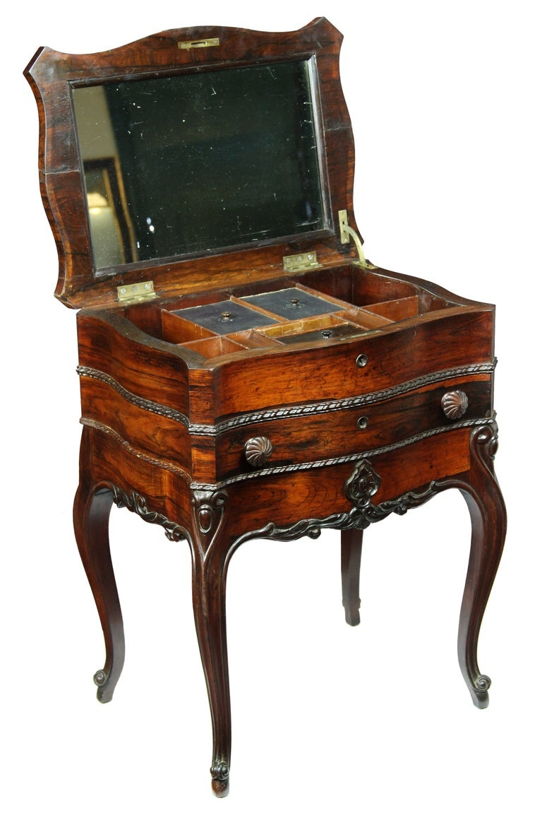 Serpentine rosewood rococo revival work table new york for Rococo style furniture
