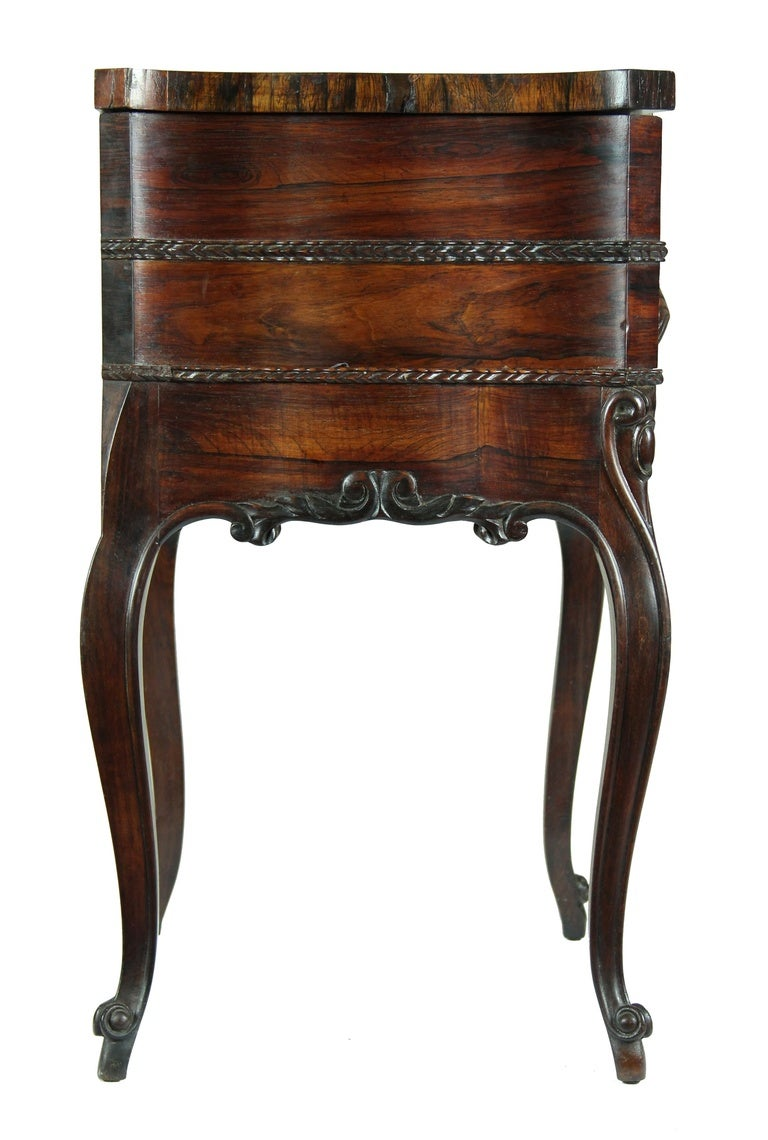Serpentine Rosewood Rococo Revival Work Table New York