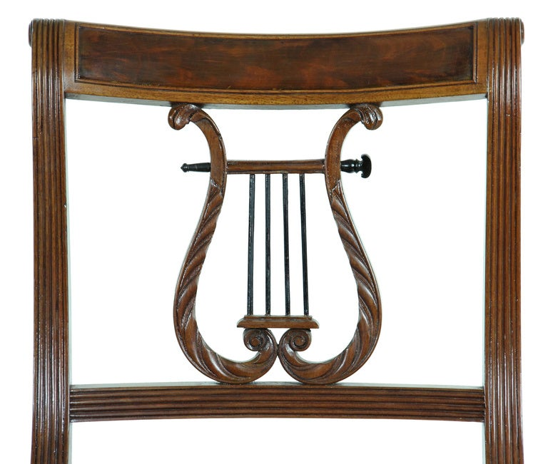 Neoclassical Mahogany Classical Lyre Side Chair, Duncan Phyfe, New York, circa 1815 For Sale