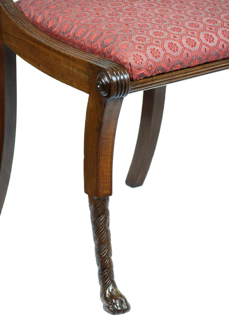 American Mahogany Classical Lyre Side Chair, Duncan Phyfe, New York, circa 1815 For Sale