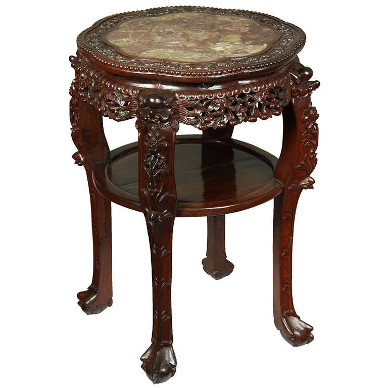 Large Chinese Table with Marble Top