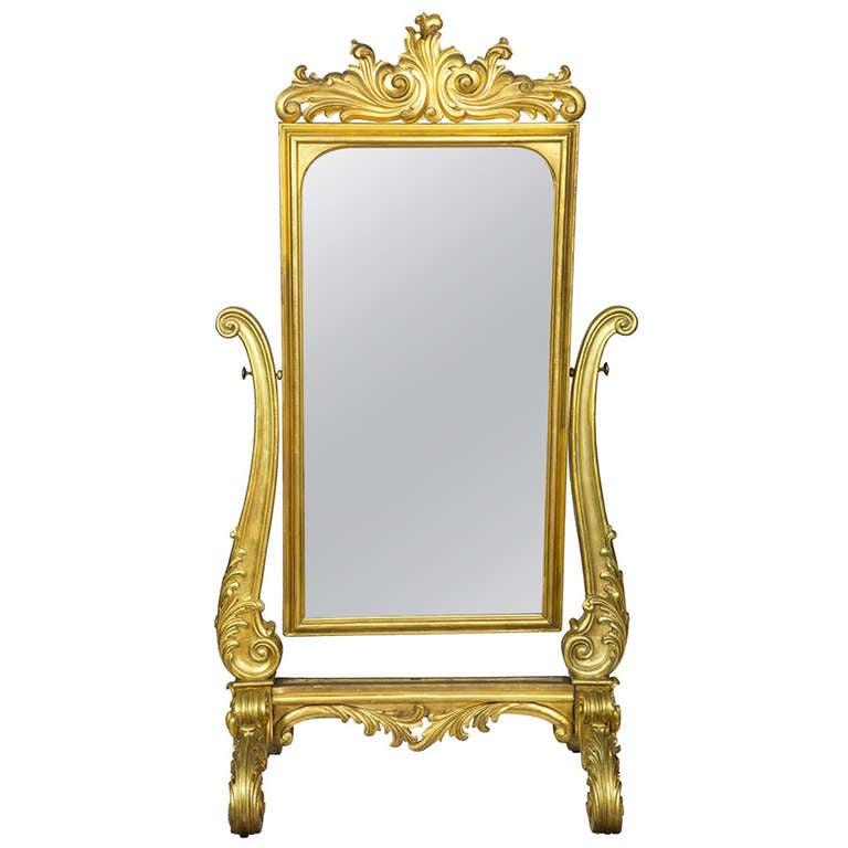 Large gold leaf rococo revival dressing mirror circa 1860 for Floor length mirror for sale