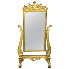 Large Gold Leaf Rococo Revival Dressing Mirror, circa 1860