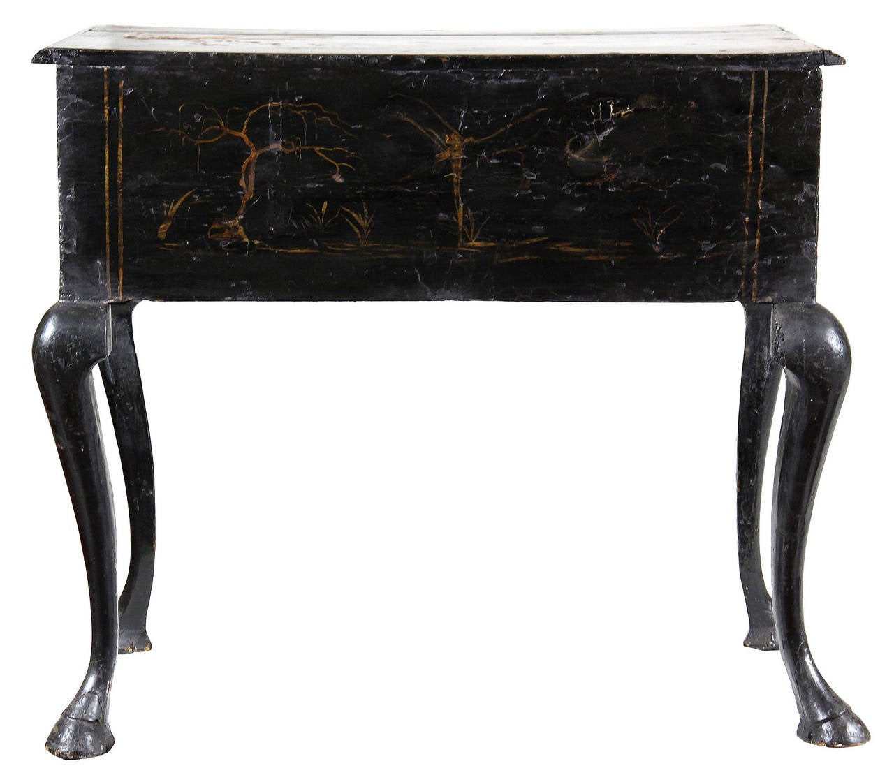Black Lacquer Queen Anne Japanned Dressing Table, England, circa 1750 6