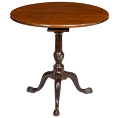 Mahogany Tilt-Top Table with Birdcage and Spiral Urn