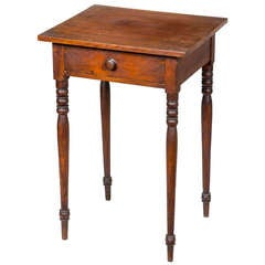 Cherry Country Stand in Old Surface on Tall Turned Legs, circa 1810-1820