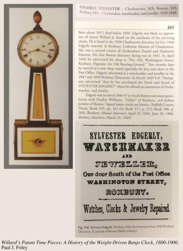 Federal Mahogany Banjo Clock by Sylvester Edgarly, Roxbury, MA, circa 1835 For Sale 3
