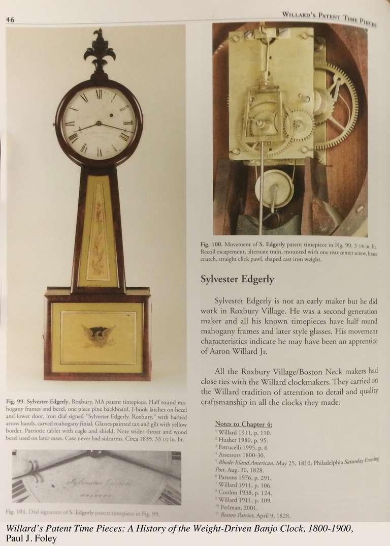 Federal Mahogany Banjo Clock by Sylvester Edgarly, Roxbury, MA, circa 1835 For Sale 2