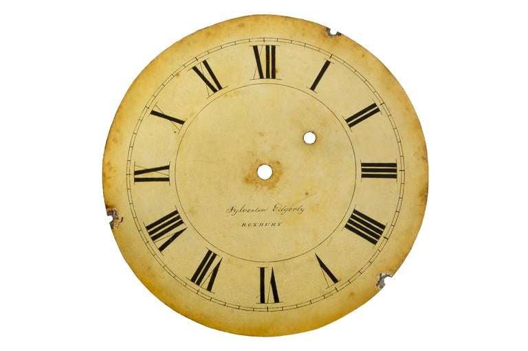 19th Century Federal Mahogany Banjo Clock by Sylvester Edgarly, Roxbury, MA, circa 1835 For Sale