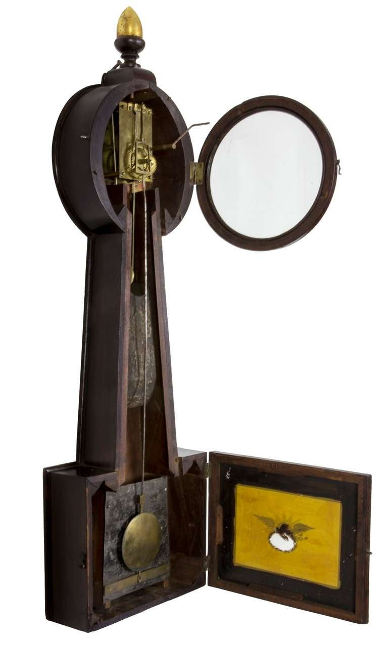 Federal Mahogany Banjo Clock by Sylvester Edgarly, Roxbury, MA, circa 1835 For Sale 1