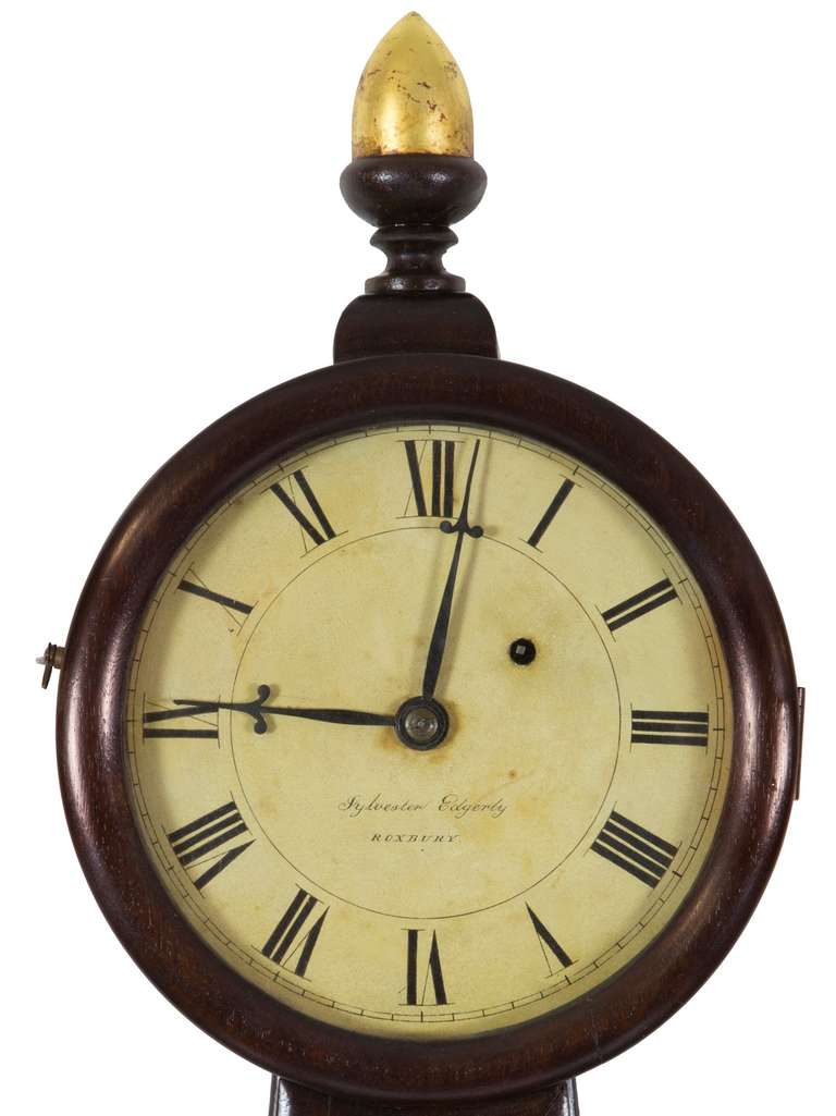 Sylvester Edgarly was one of the last of the great banjo makers in the circle of Willard, and was apprenticed to Simon Willard. Clocks related to this example are illustrated in two places in Foley's book on Willard patent time pieces. (See 2