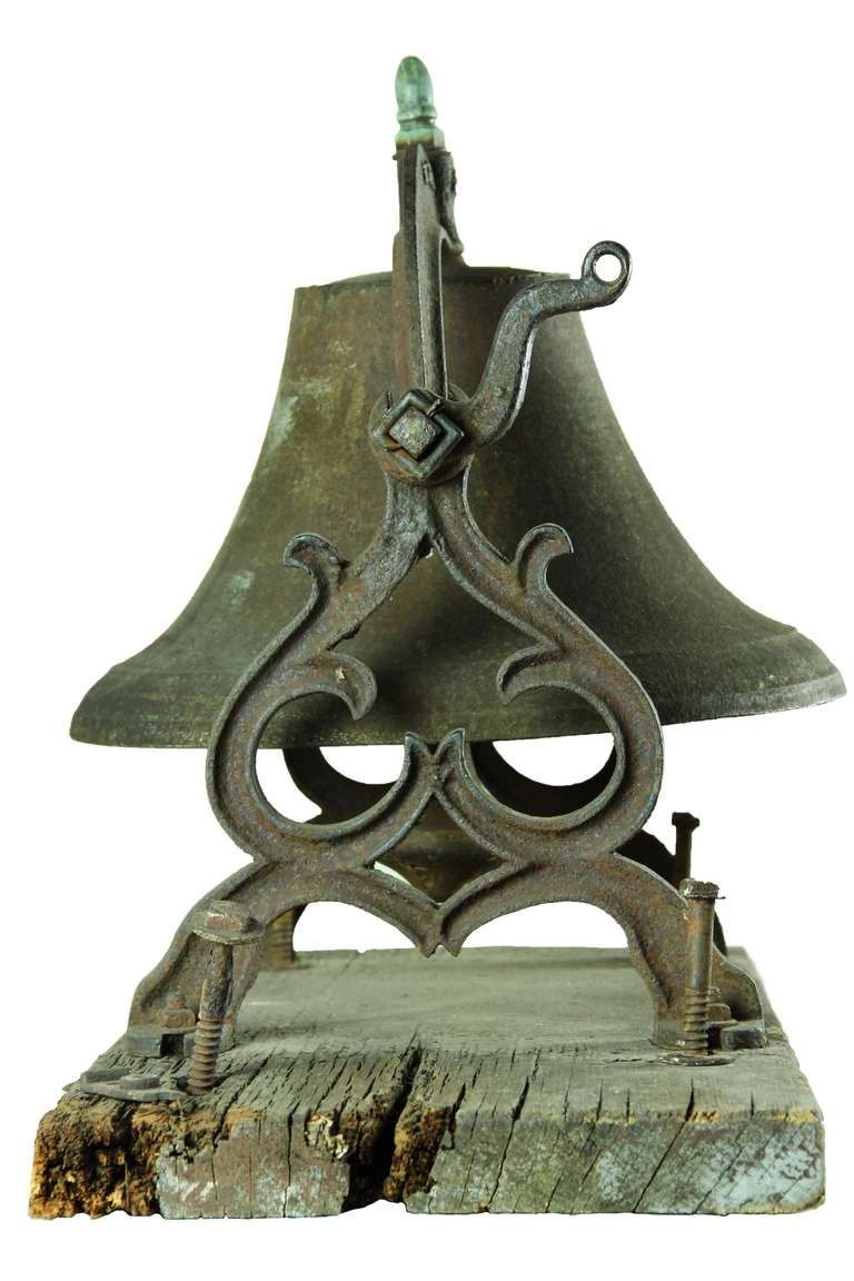 American Large School or Church Bell with Mounting Base, New England For Sale