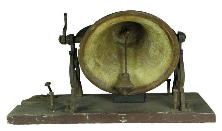 19th Century Large School or Church Bell with Mounting Base, New England For Sale