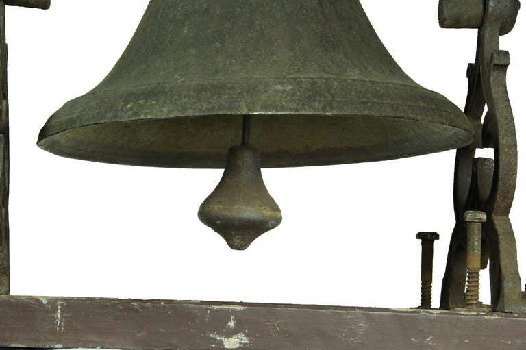 Metal Large School or Church Bell with Mounting Base, New England For Sale