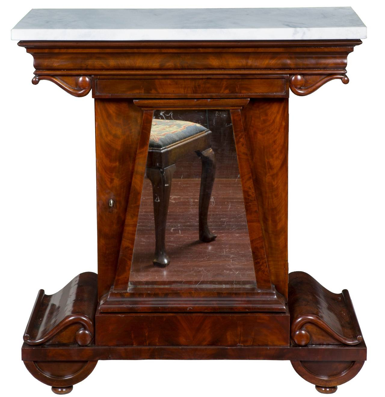 Mahogany And Marble Mixing Table Attributed To Anthony