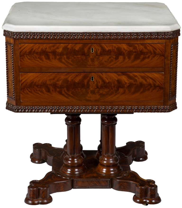 Rare Classical Or Gothic Mahogany Marble Top Center Table Ny Circa 1845 For Sale At 1stdibs