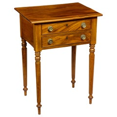 Federal Mahogany Nightstand Two-Drawer Worktable, Philadelphia, circa 1800-1810