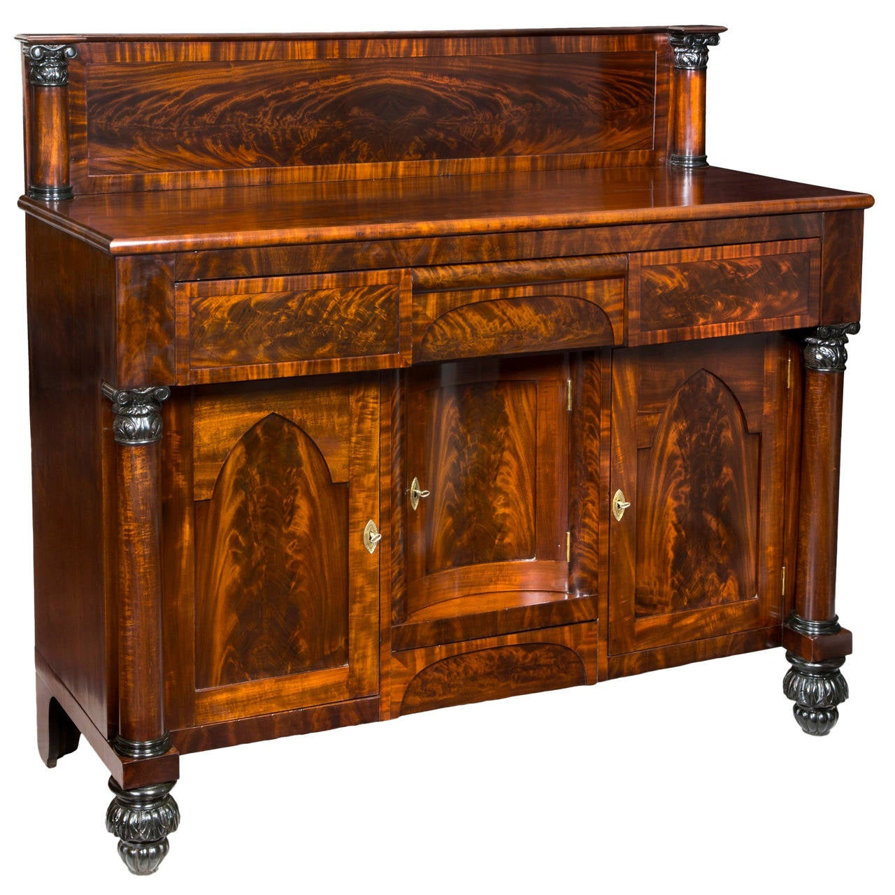 Mahogany Classical Sideboard with Gothic Arch Doors, Brooklyn, NY, circa 1840