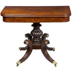 Highly Figured Mahogany Classical Card Table on Saber Legs, Salem, circa 1820