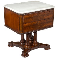Rare Classical or Gothic Mahogany Marble-Top Center Table, NY, circa 1845