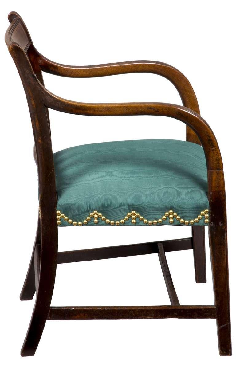 Upholstery Mahogany English Regency Armchair, circa 1810 For Sale