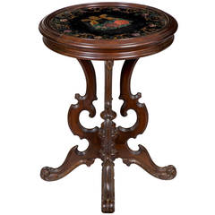 Rococo Revival Walnut Stand with Reverse Painted Lyre on Glass, circa 1850-1860