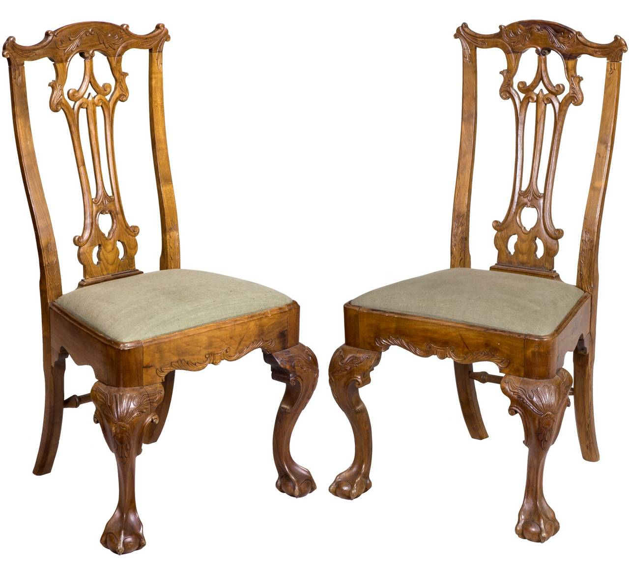 Well-known Pair of Carved Chippendale Ball and Claw Feet Side Chairs For Sale  YV57