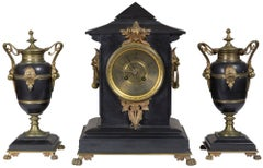 Victorian Black Marble Three-Piece Mantel Clock with Mounts, circa 1880