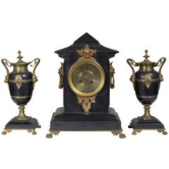 Victorian Black Marble Three-Piece Mantel Clock with Mounts, circa 1880