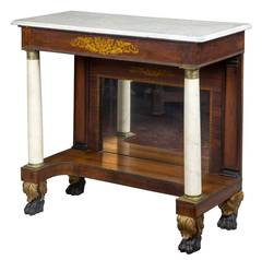 Rosewood Stenciled Pier Table with Marble Columns, New York, 1830