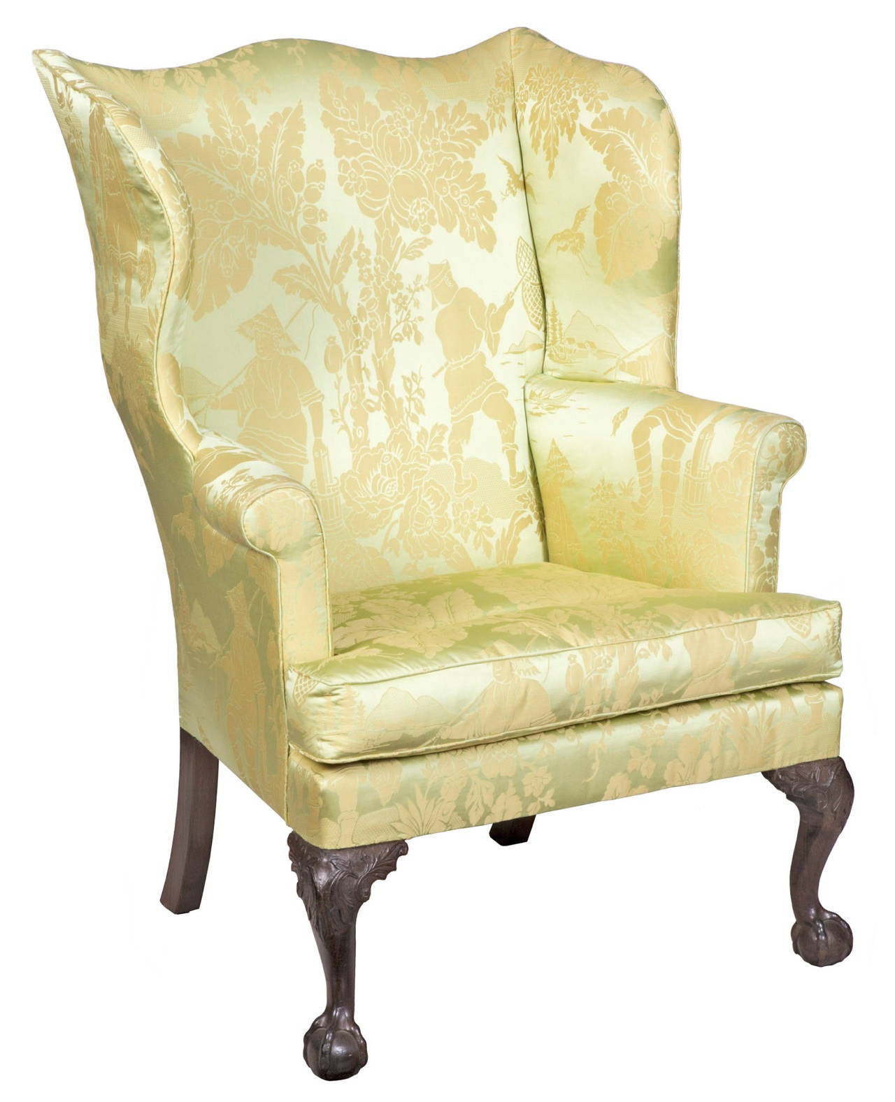 Chippendale Wing Chair On Carved Legs With Claw And Ball