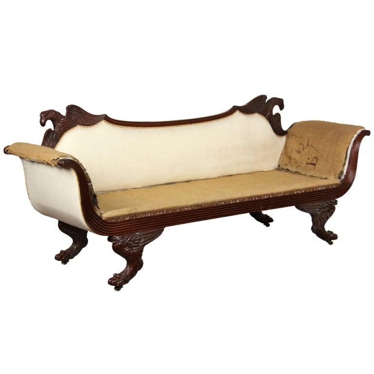 Classical Mahogany Sofa with Eagles, Probably New York, circa 1805-1815