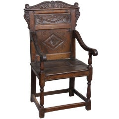 Carved Walnut William & Mary Wainscott/Panel Back Great Chair