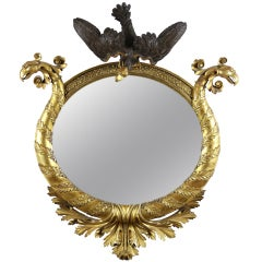 Classical Parcel Ebonized Giltwood Mirror American or English