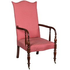 Federal Mahogany Lolling Chair, Portsmouth, NH, circa 1820-1830