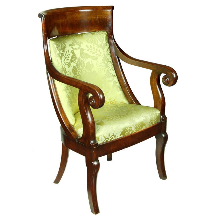 Classical Mahogany Armchair, French Restoration Taste, Boston For Sale