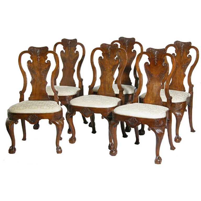 Set Of Six Carved Walnut Queen Anne Side Chairs England 1