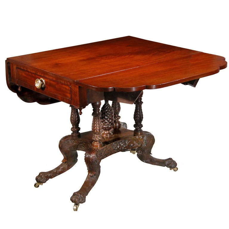 Carved Mahogany Classical Drop-Leaf Table, Phyfe School, New York For Sale