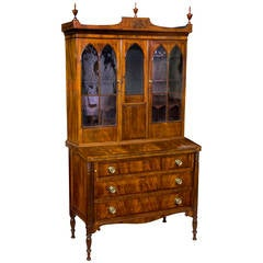 Inlaid Figured Mahogany Federal or Hepplewhite Secretaire, Seymour School