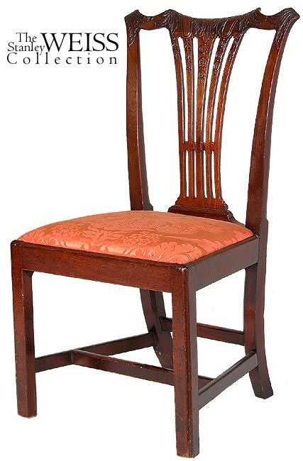 This set of chairs has fine highly decorative carving on its crest and splat. The crest is beautifully sculptured and quite English in form, reminiscent of many English models. The rear legs have a distinctive cant and they are all in a perfect