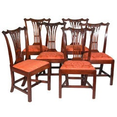 Set of Six Carved Mahogany Chippendale Side Chairs, Philadelphia, circa 1780