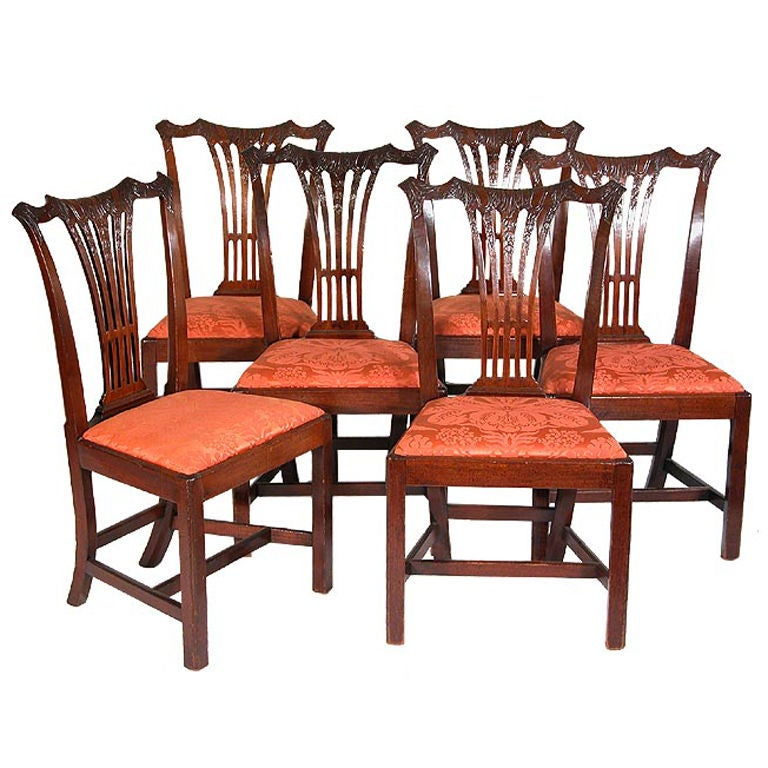Set Of Six Carved Mahogany Chippendale Side Chairs Philadelphia