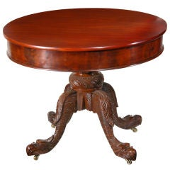 Mahogany Neoclassical Center Table Pineapple Base And Segmented Top Ny At 1stdibs