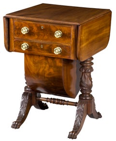 Classical Carved Mahogany Sewing Stand with Acanthus Carved Legs, circa 1820