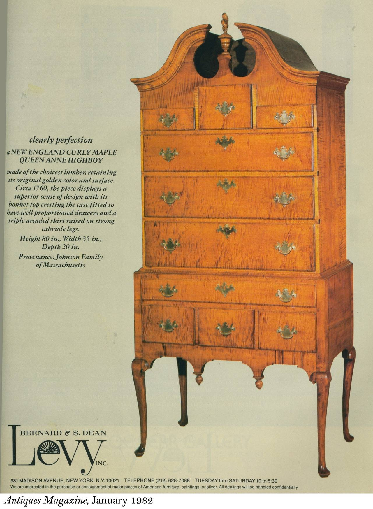 Tiger Maple Queen Anne High Chest with Bonnet Top, Massachusetts For Sale 4