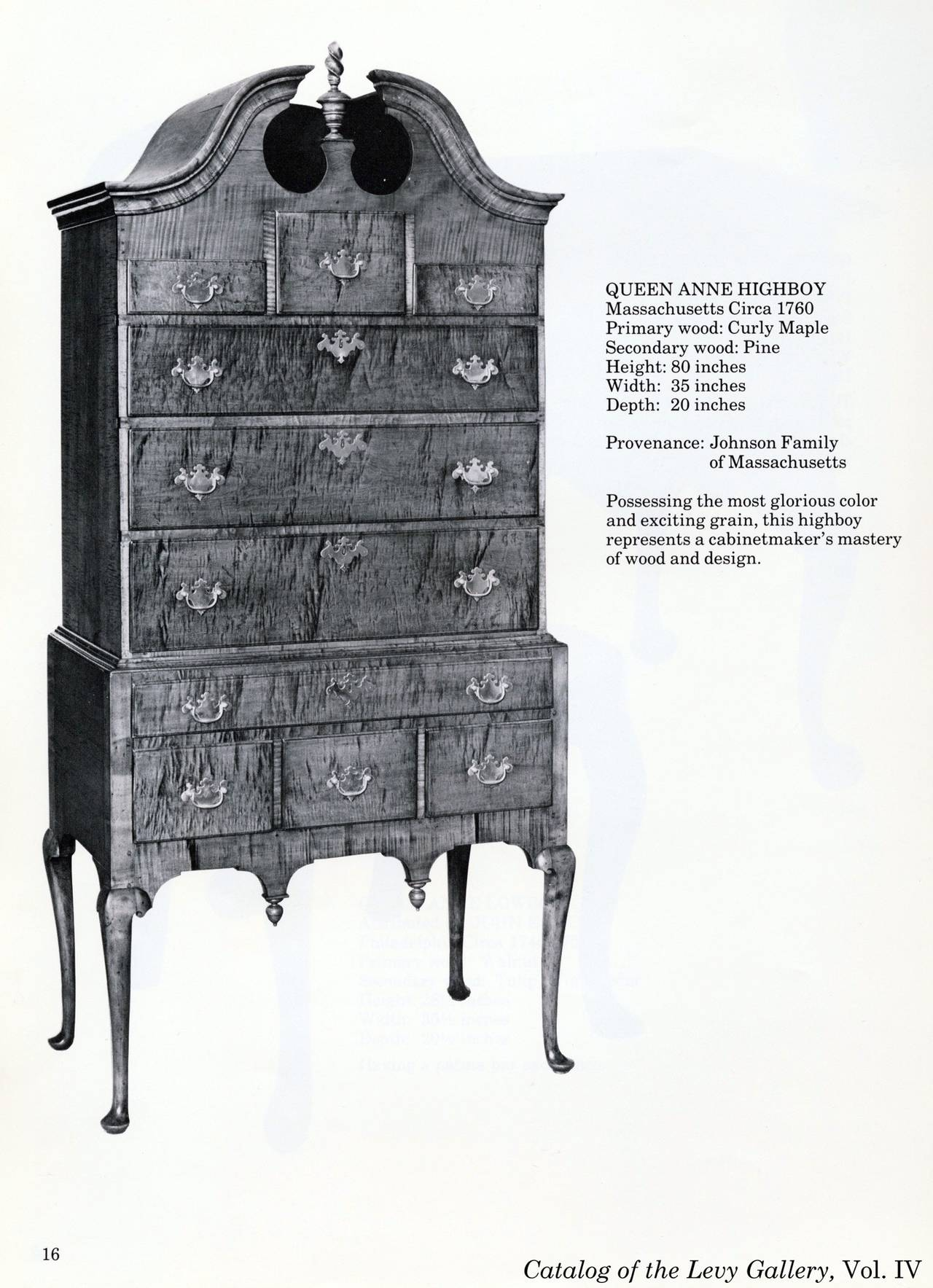 Tiger Maple Queen Anne High Chest with Bonnet Top, Massachusetts For Sale 5