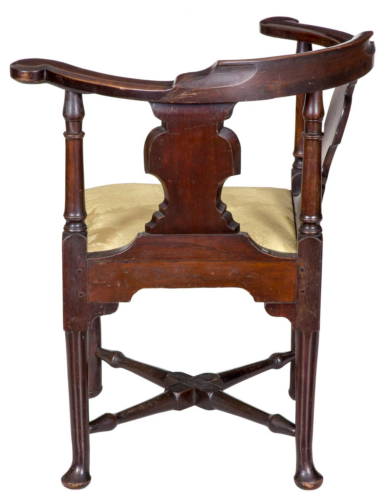 Mahogany Queen Anne Corner Chair with Horseshoe Seat Boston circa