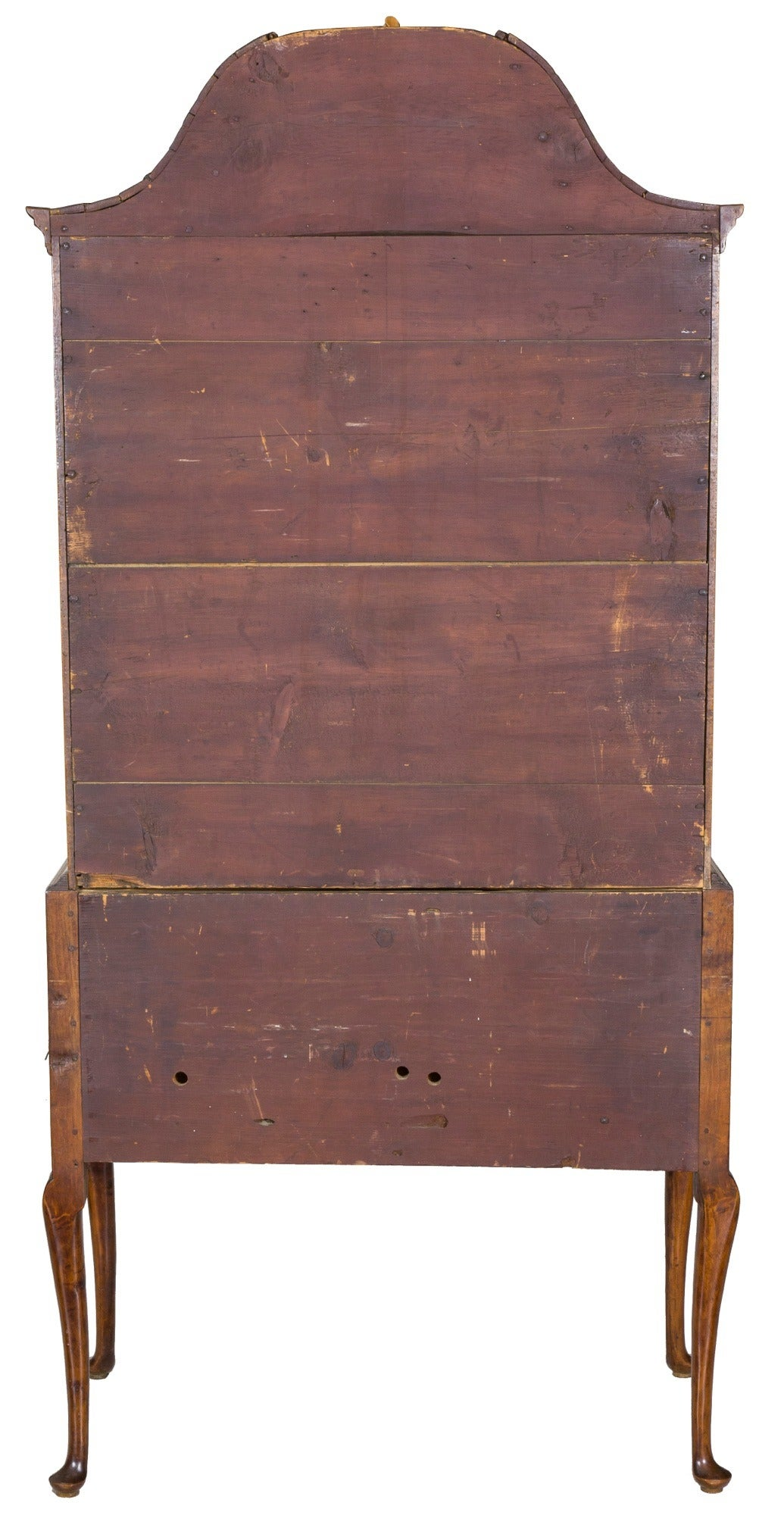 Tiger Maple Queen Anne High Chest with Bonnet Top Massachusetts