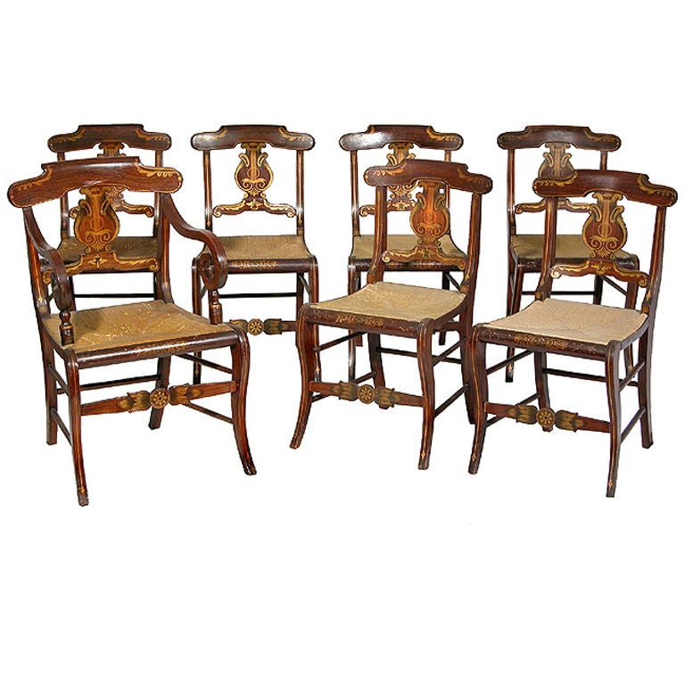 Set of Seven Rosewood Grained Gilt Fancy Chairs, New York For Sale
